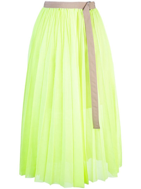 Sacai belted skirt in green