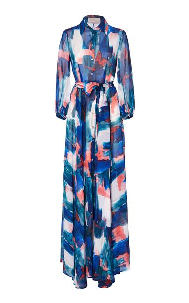 SOONIL Blue Multi Button Down Maxi Dress Size: 0 in print