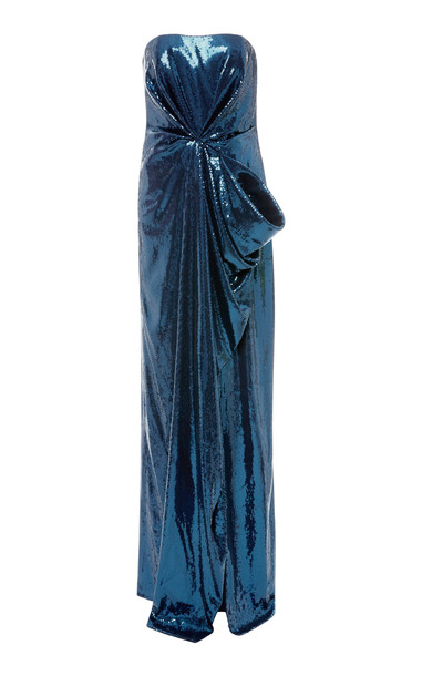 Prabal Gurung Strapless Draped Sequined Gown Size: 0 in navy