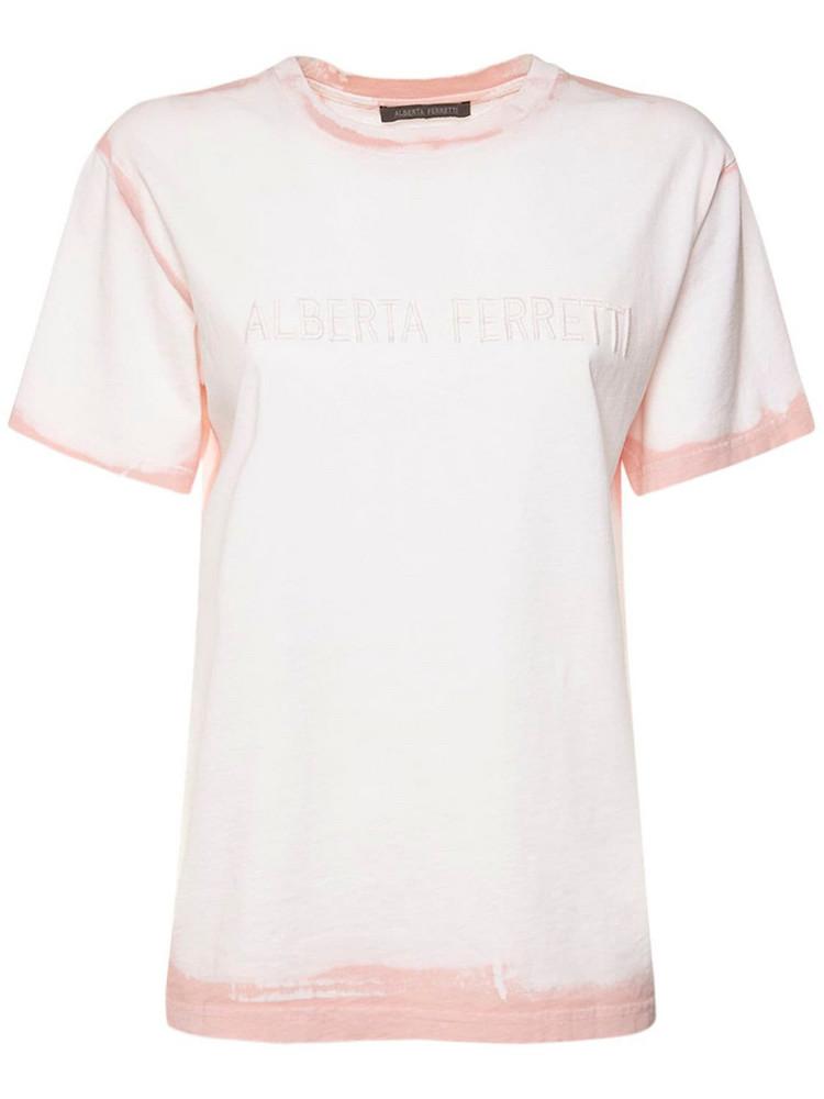 ALBERTA FERRETTI Logo Embroidery Cotton Jersey T-shirt in pink