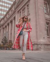 jeans,white jeans,cropped jeans,white sandals,plaid,trench coat,sweater,crossbody bag