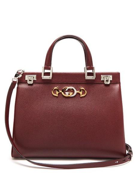 Gucci - Zumi Medium Top Handle Leather Bag - Womens - Burgundy
