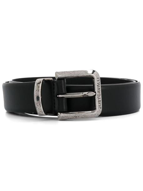 Just Cavalli engraved-logo buckle belt in black