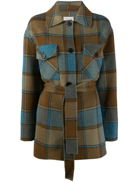 Sandro Paris belted check coat in brown