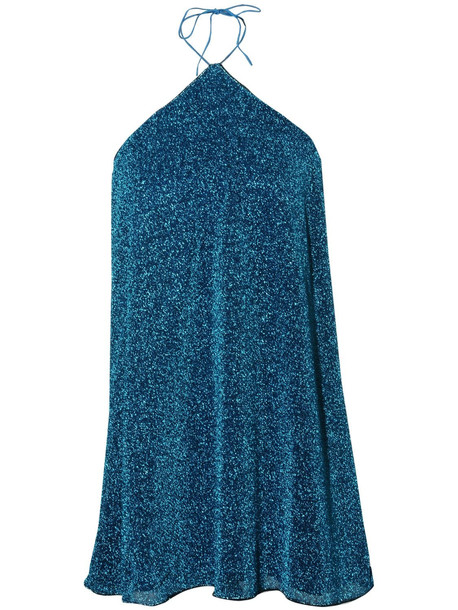 OSÉREE SWIMWEAR Lumière Necklace Mini Dress in blue
