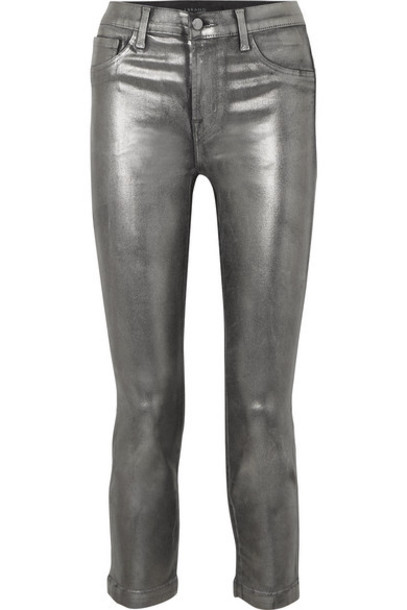 J Brand - Ruby Cropped Metallic Coated High-rise Slim-leg Jeans - Silver