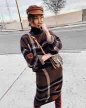 sweater,turtleneck sweater,knitted sweater,midi skirt,knitted skirt,over the knee boots,louis vuitton bag,beret