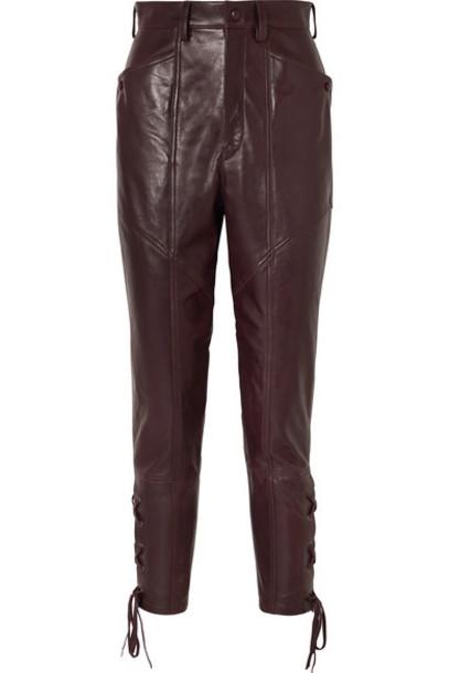 Isabel Marant - Cadix Leather Straight-leg Pants - Burgundy