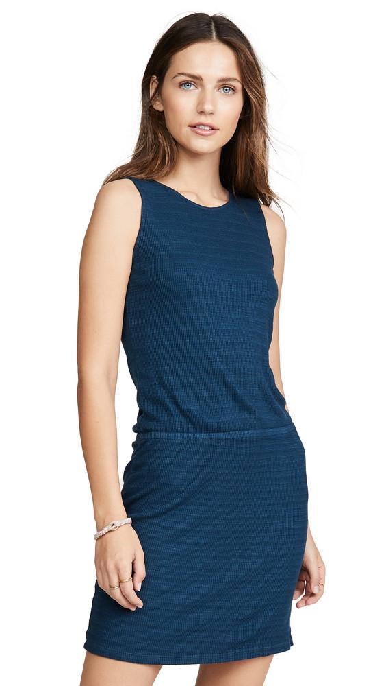 MONROW Rib Cross Back Dress in blue