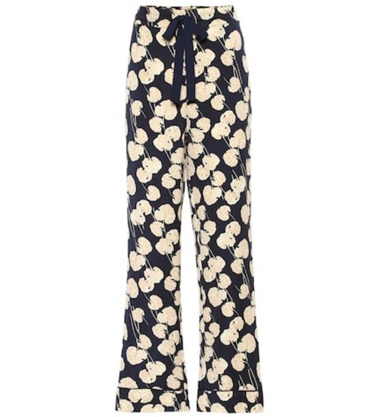 Diane von Furstenberg Veronica silk-blend cady pants in blue