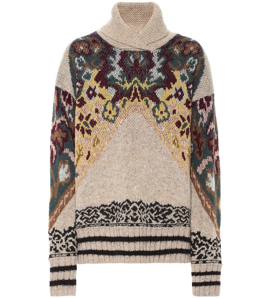 Etro Wool, silk and alpaca-blend jacquard sweater in brown