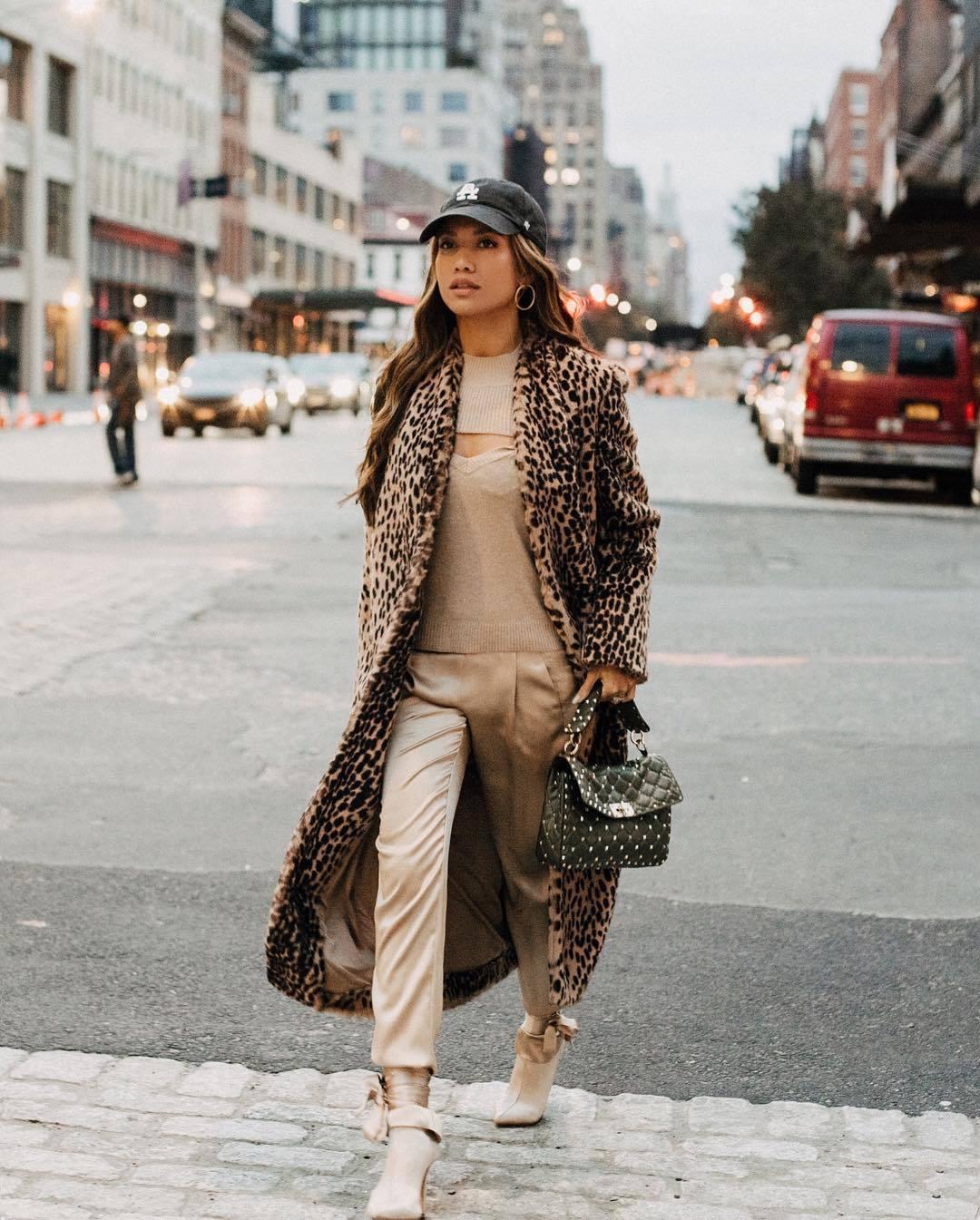 coat long coat leopard print ankle boots heel boots silk pants black bag handbag knitted top cap
