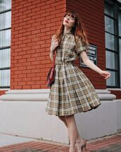 dress,midi dress,tartan dress,tartan,vintage dress