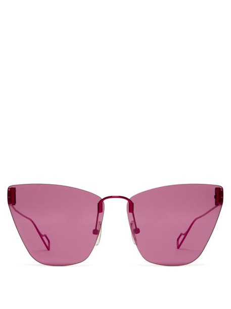 Balenciaga - Bb-logo Cat-eye Sunglasses - Womens - Purple