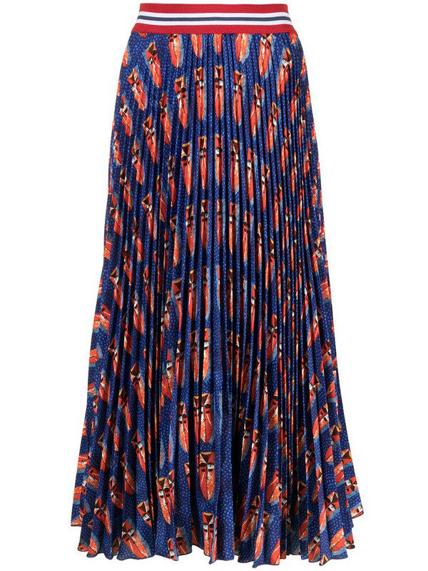 Stella Jean graphic-print pleated skirt in blue