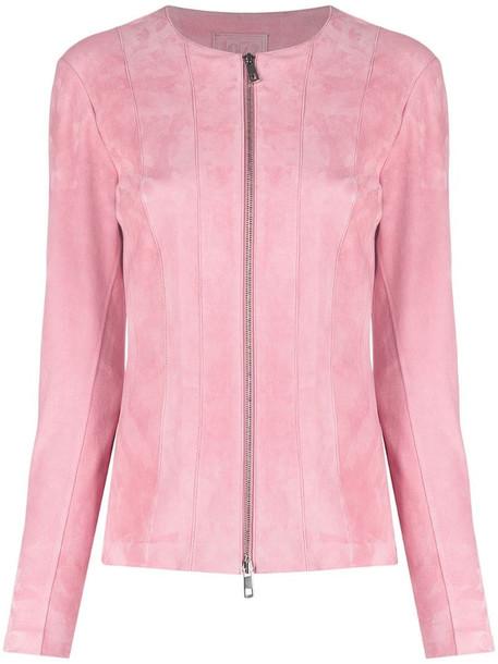 Desa 1972 zip-up suede jacket in pink