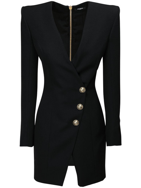 BALMAIN V Neck Wrap Wool Mini Dress in black