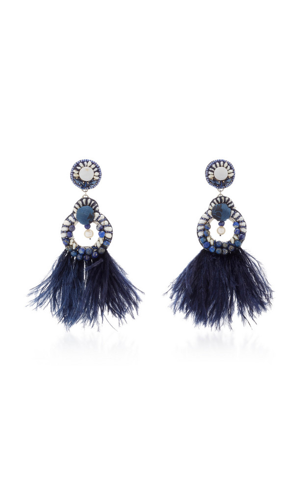 Ranjana Khan Navy Gold-Plated, Feather and Crystal Clip Earrings in blue