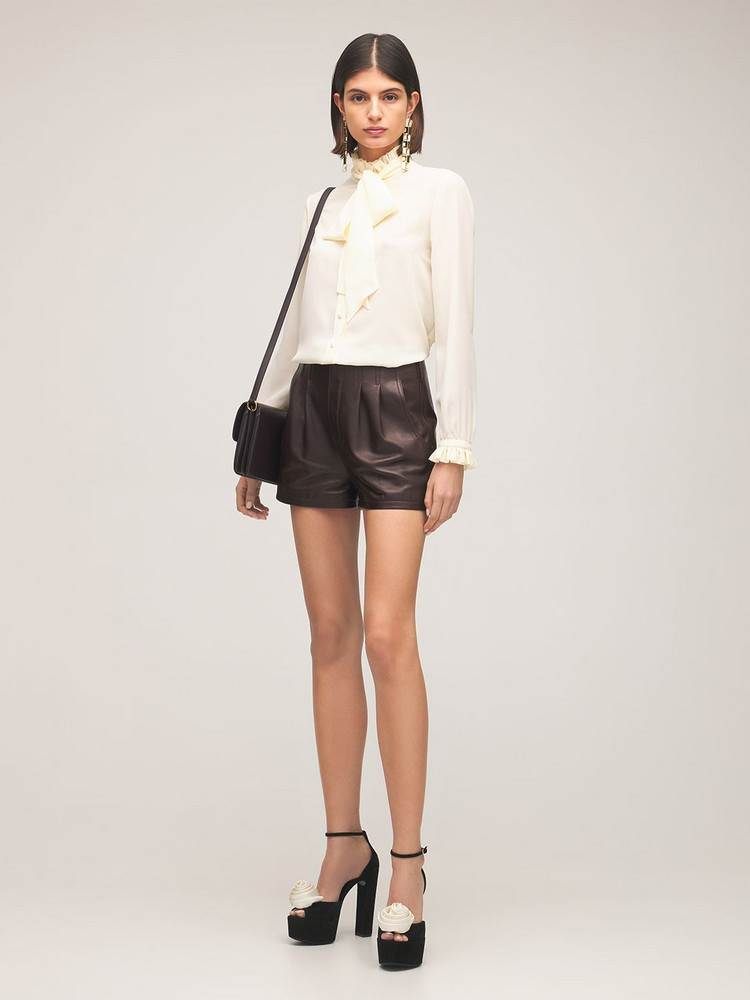 SAINT LAURENT Leather Mini Shorts in brown