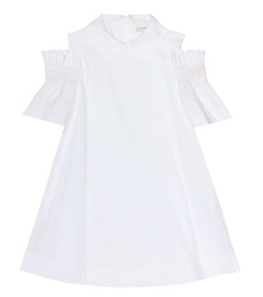 Fendi Kids Embroidered stretch-cotton dress in white