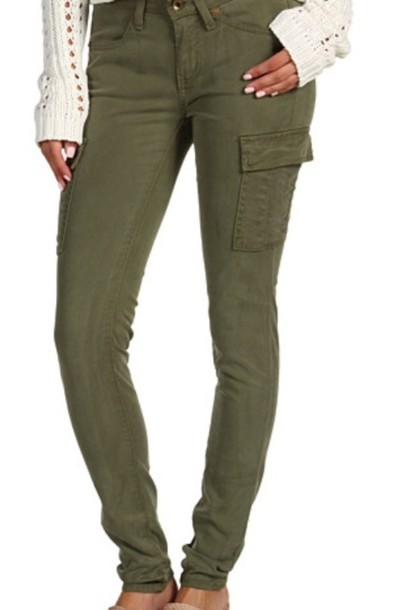 jeans green skinny cargo pants