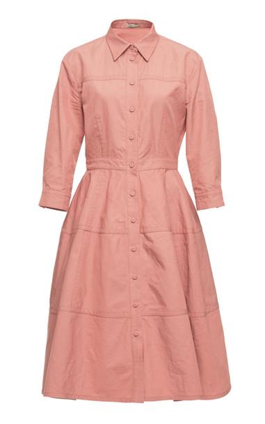 Bottega Veneta Collared Cotton-Blend Shirt Dress Size: 44 in pink