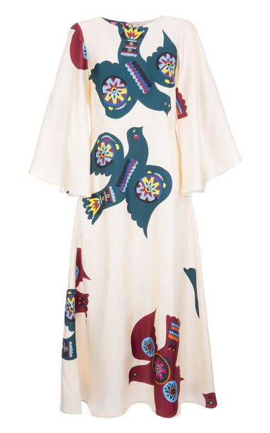 La DoubleJ Sorella Printed Silk Dress in white