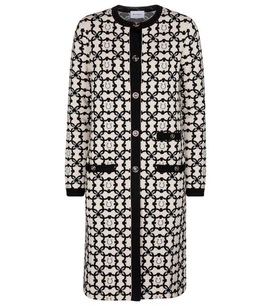 Salvatore Ferragamo Virgin wool jacquard coat in black