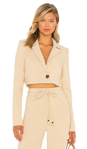 House of Harlow 1960 x Sofia Richie Prague Cropped Blazer in Neutral in taupe