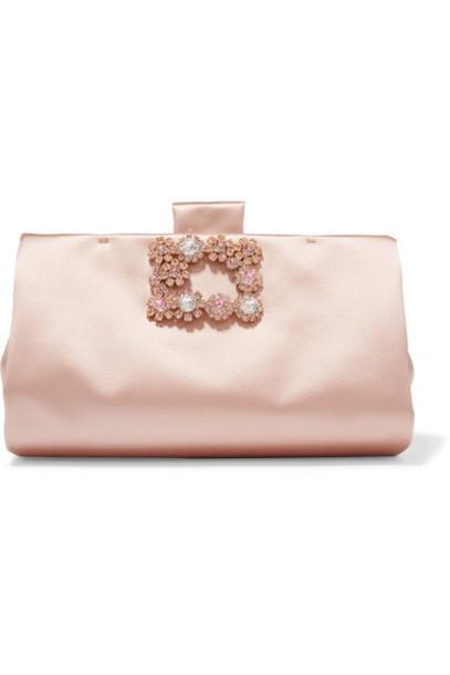 Roger Vivier - Crystal-embellished Satin Clutch - Pink