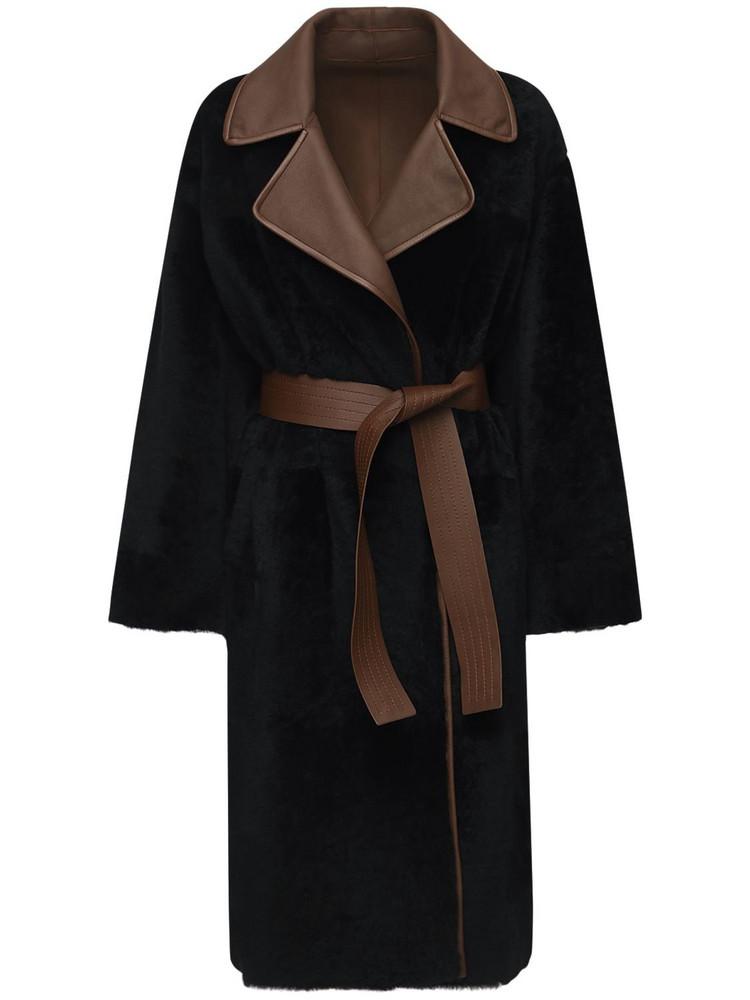 BLANCHA Reversible Light Merino Shearling Coat in black / brown
