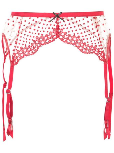 Fleur Du Mal Dotty garter belt in red