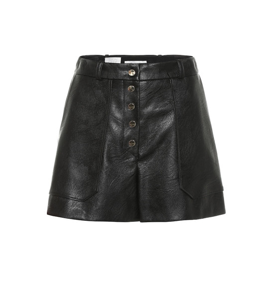 Stella McCartney Faux leather high-rise shorts in black