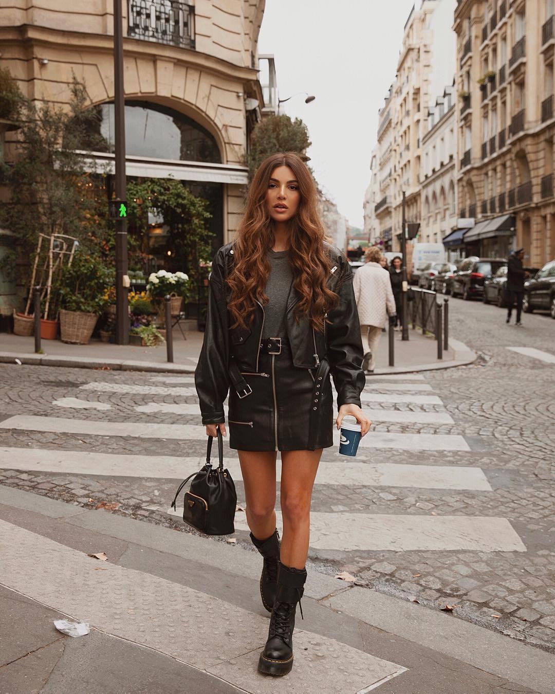 skirt black leather skirt mini skirt black boots combat boots black bag black leather jacket grey sweater