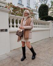 dress,turtleneck dress,knee high boots,black boots,blazer,bag
