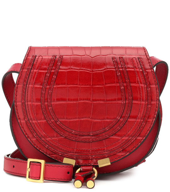 Chloé Mini Marcie leather shoulder bag in red