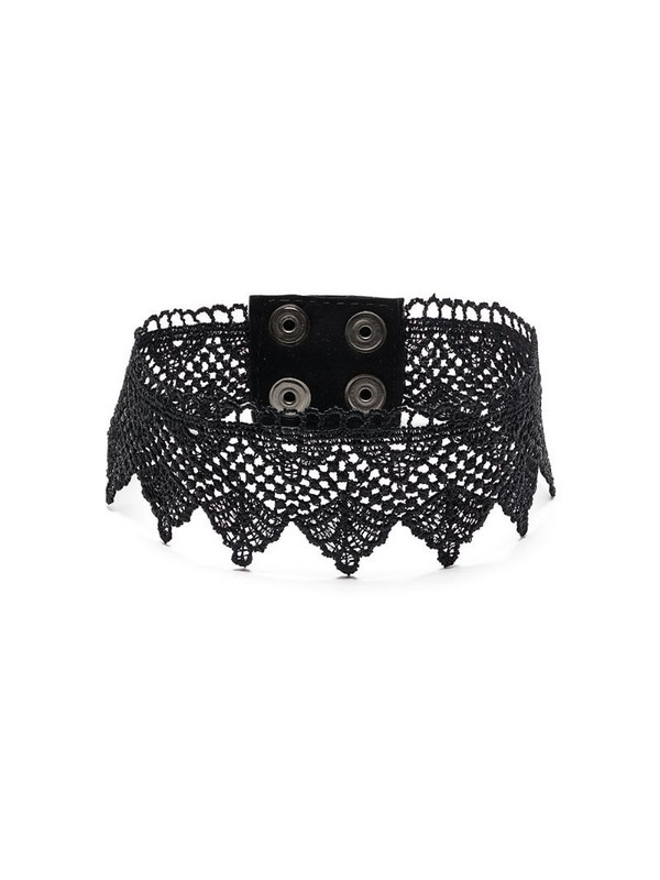 Manokhi cotton lace choker necklace in black