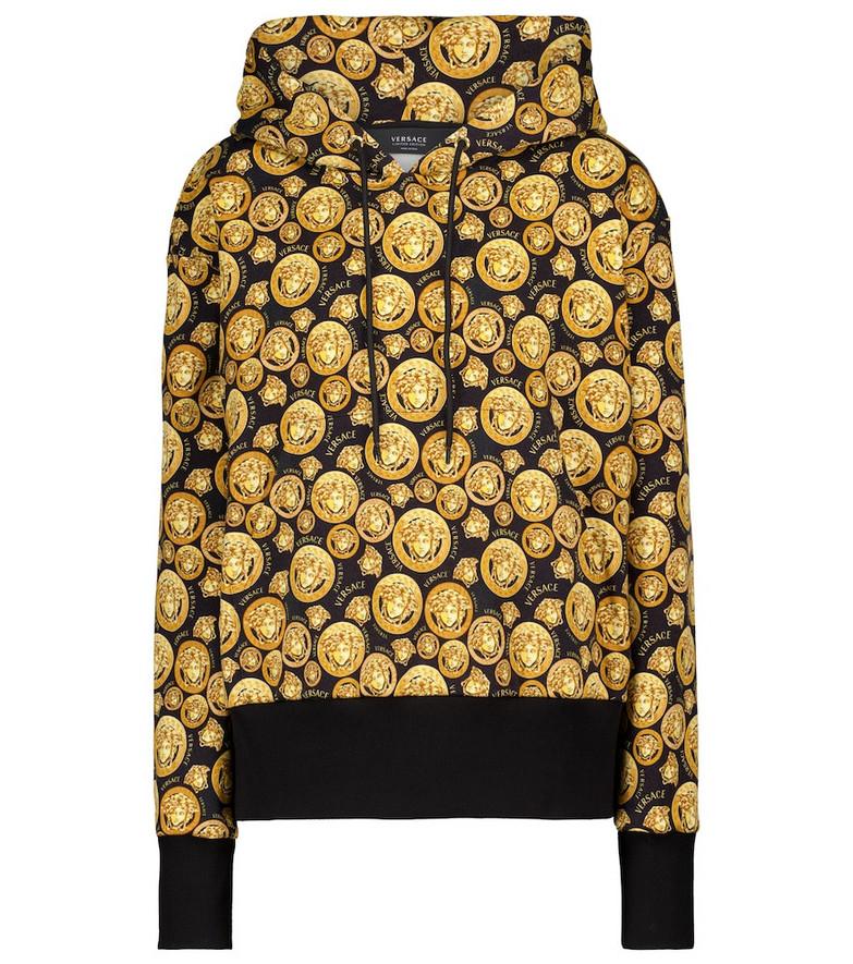Versace Medusa printed cotton hoodie in gold