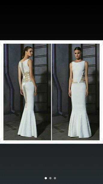 dress white long prom dress