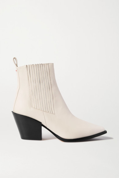 aeyde - Kate Leather Ankle Boots - Off-white