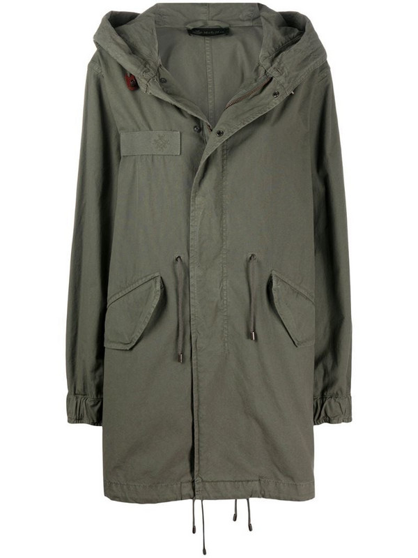 Mr & Mrs Italy drawstring detail hooded parka coat in green