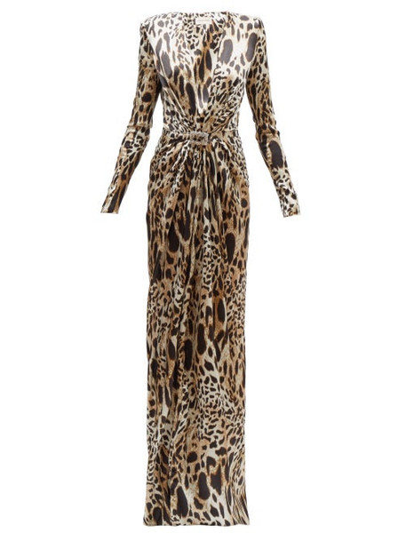 Alexandre Vauthier - Crystal Embellished Lynx Print Satin Gown - Womens - Leopard