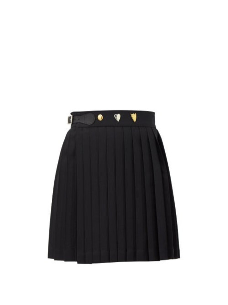 Charles Jeffrey Loverboy - Knife-pleated Cotton-twill Mini Wrap Skirt - Womens - Black