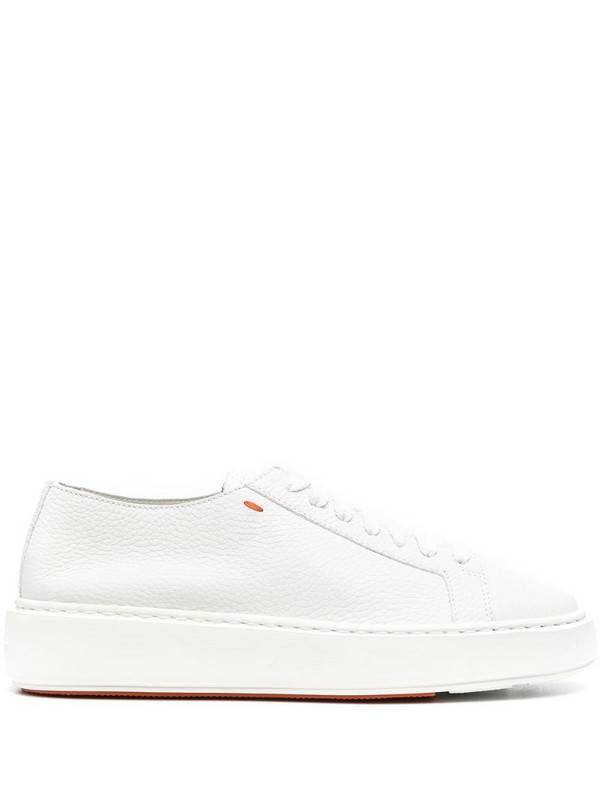 Santoni leather low-top sneakers in white