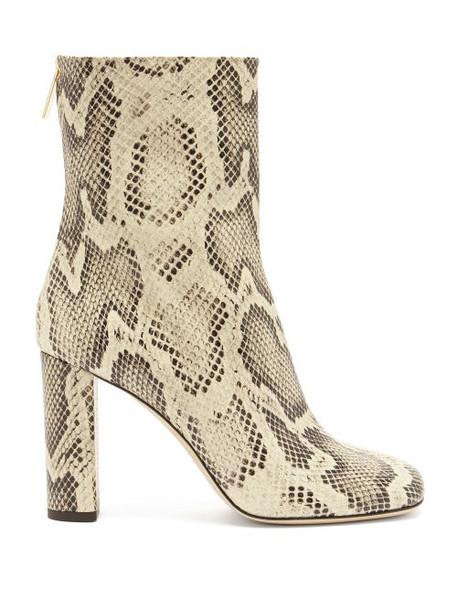 Paris Texas - Python-effect Leather Boots - Womens - Cream Multi