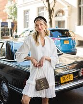 dress,white dress,mini dress,long sleeve dress,bag