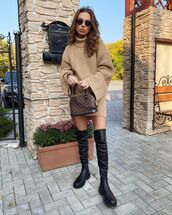 shoes,over the knee boots,black coat,turtleneck sweater,oversized sweater,bag