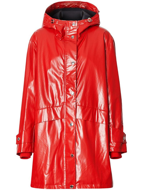 Burberry Horseferry-print parka coat in red
