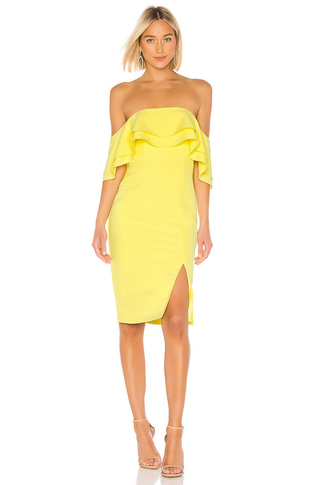 Bardot Band Dress in yellow