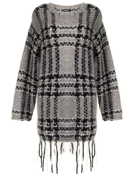 Undercover checked mohair-blend jumper in grey